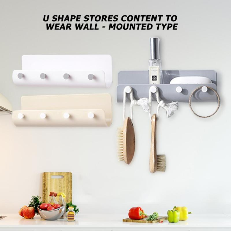 U-shaped Storage Holder 4 Hook Storage Rack Wall-mounted Hanging Key Hanger Rack Books Sundries Organizer Shelf Home Decor