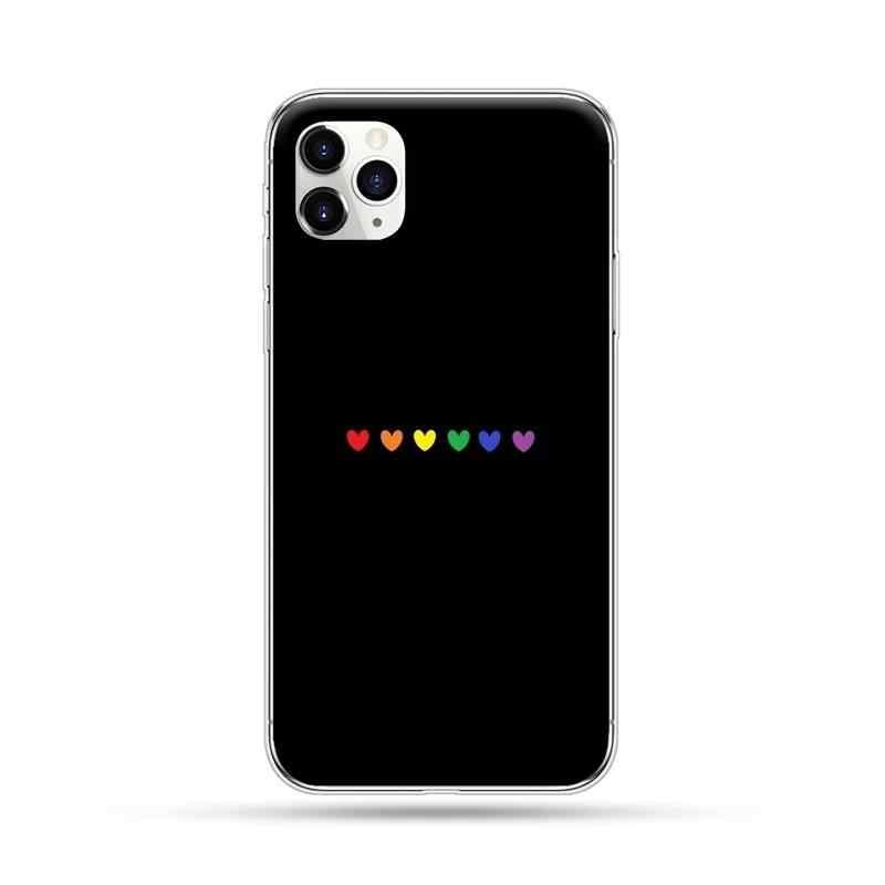 게이 레즈비언 LGBT 레인보우 아이폰 4 4s 5 5s 5c se 6 6s 7 8 플러스 x xs xr 11 프로 맥스에 대한 새로 도착한 블랙 핸드폰 케이스