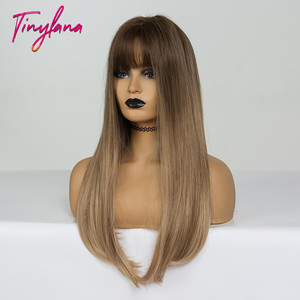 Image 3 - 小さなlanaロングオンブル茶色ブロンドかつら前髪コスプレ人工黒人女性ストレート自然なパーティー偽の髪かつら