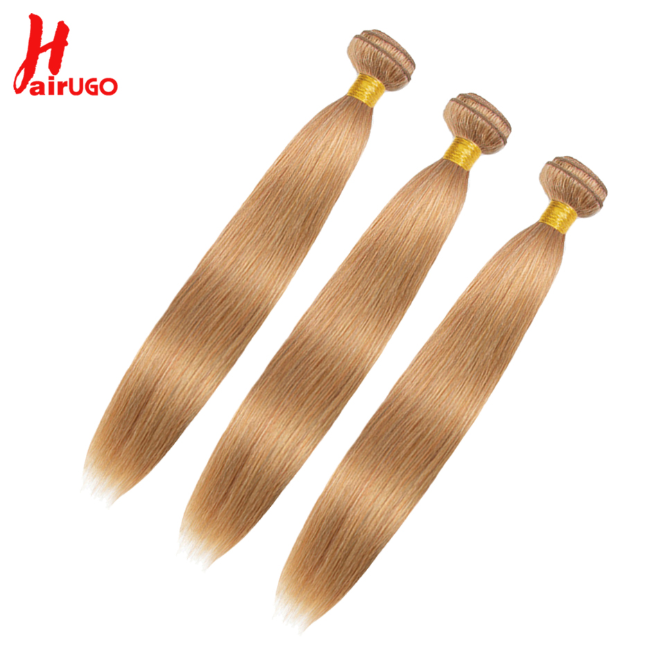 HairUGo Hair Honey Blonde Bundles With Closure 27# Brazilian Hair 3 Bundles With Closure Straight Remy Human Hair Weave Bundles