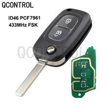 QCONTROL 2 أزرار سيارة مفتاح بعيد دعوى لرينو كليو 3 كانجو ماستر مودوس توينجو الوجه مع 434MHz PCF7961A
