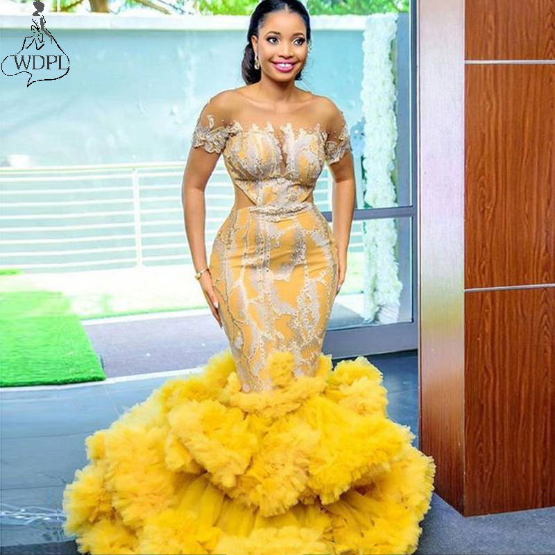 Gold Yellow Plus Size Mermaid Evening Dress 2020 New Ruffle Skirt Lace African Women Prom Dresses Short Sleeve Gown Abendkleider