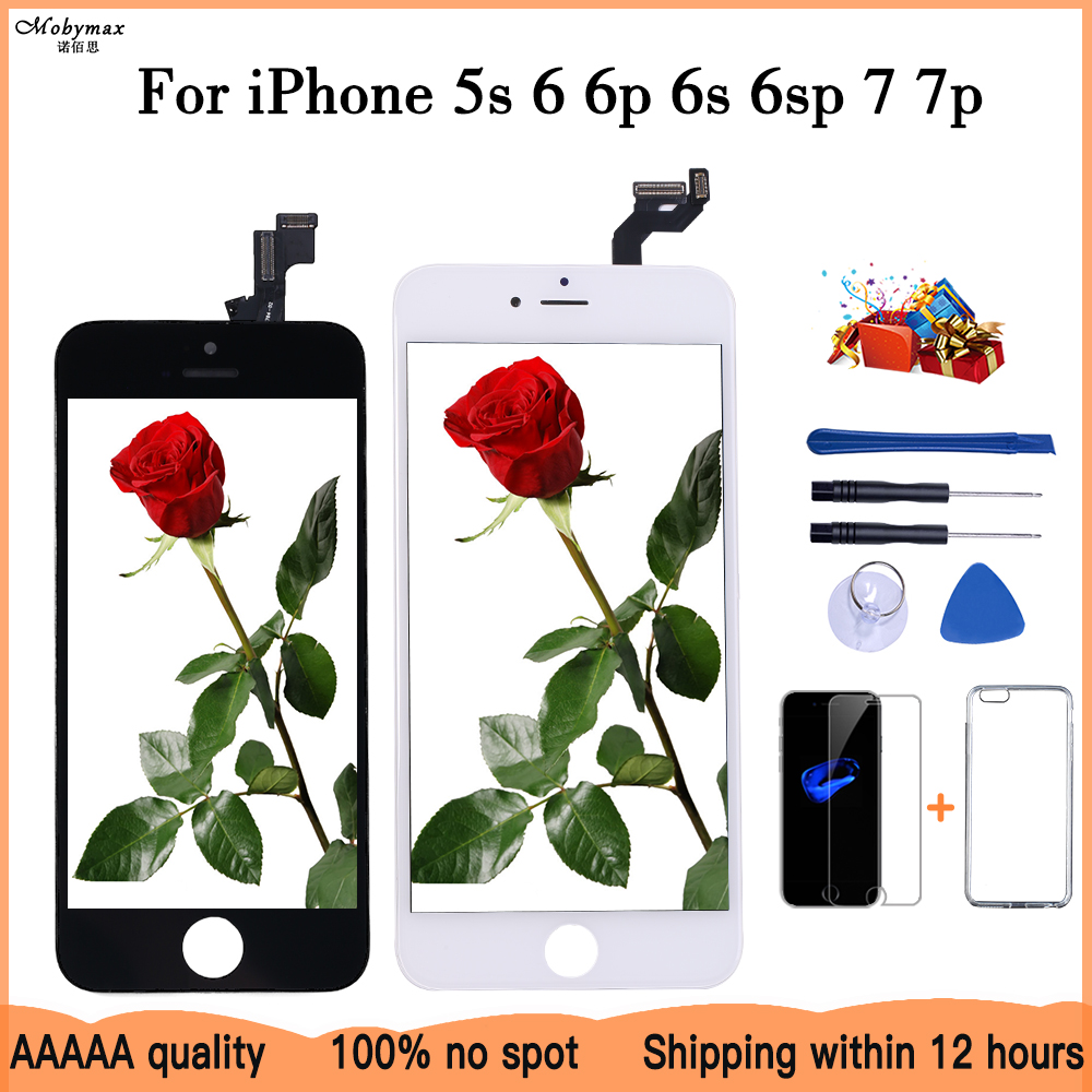 LCD Display For iPhone 6 5 5c 5s SE 7 8 Plus touch Screen Replacement for iPhone 4 4S 6S +Tempered Glass+Tools+TPU Case(China)