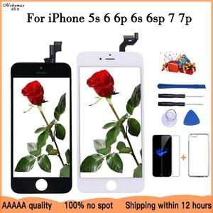 Image 1 - Tela lcd para iphone 6 5 5c 5S se 7 8 plus, touch screen substituição para iphone 4 4S 6s + vidro temperado + ferramentas + estojo de tpu