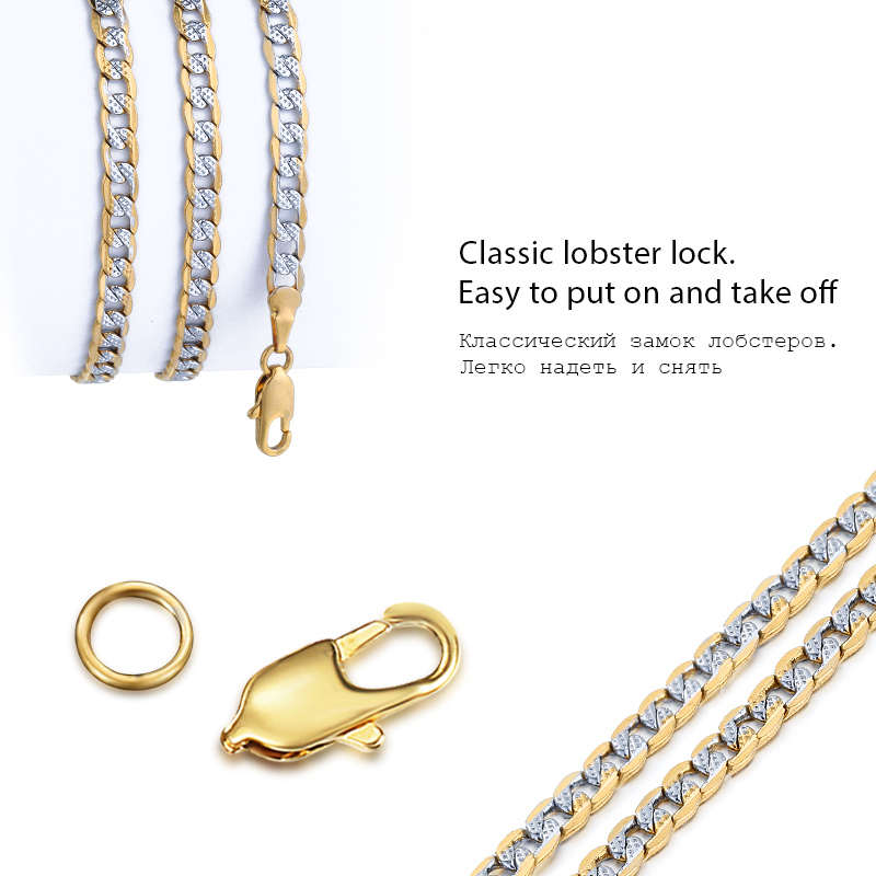 Gold Filled Chain Necklace Men Women Cuban Link Chain Male Necklace Fashion Men's Jewelry