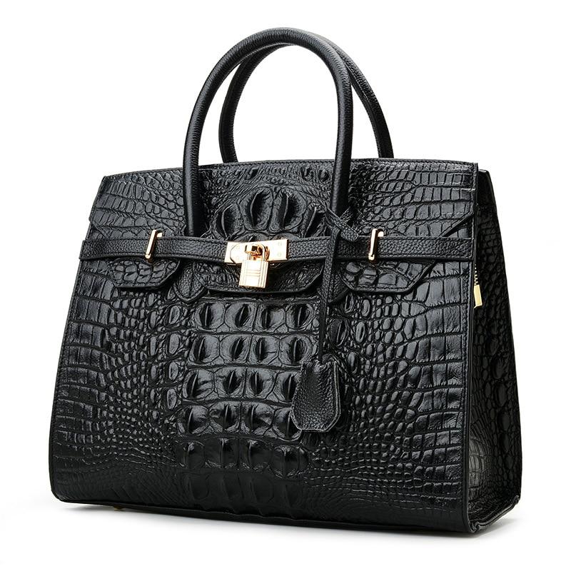Luxury High End Women's Handbag Top Layer Cowhide Handbag Crocodile Pattern  Lady's Shoulder Bag Big Capacity Travel Bag