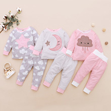 Комплекты одежды для малышей, топ с вышивкой в виде звезд, Луны и облаков для маленьких девочек + штаны, пижама, одежда для сна, зимняя одежда ...