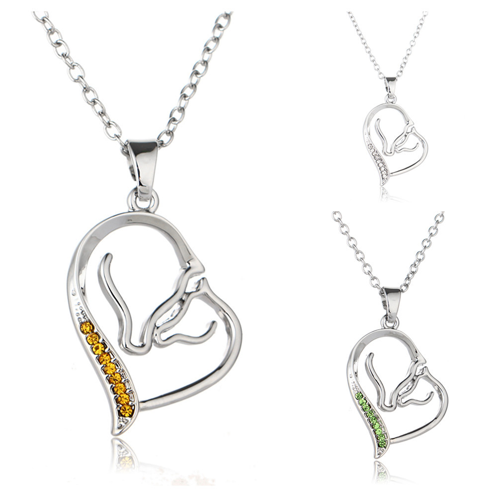 Korean-style Hot Sales MOTHER'S Day Cool Heart-shaped Pendant Creative Double Horse Family Affection Crystal Necklace Cross Bord