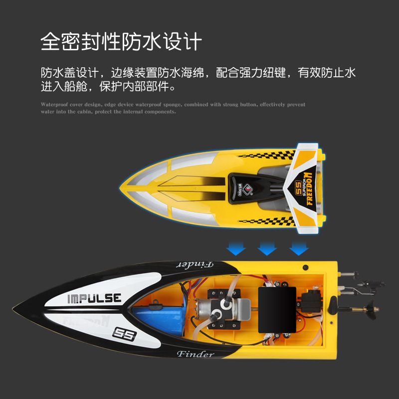 Factory Sales Weili Wl912 High-quality Imitation Profession High Speed Race Speedboat Remote Control Model Boat Toy Roll-over El