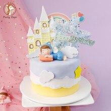 Castillo estrella nubes bebé Príncipe durmiendo Topper para tarta de feliz cumpleaños princesa chica material para Fiesta infantil regalos de amor rosa