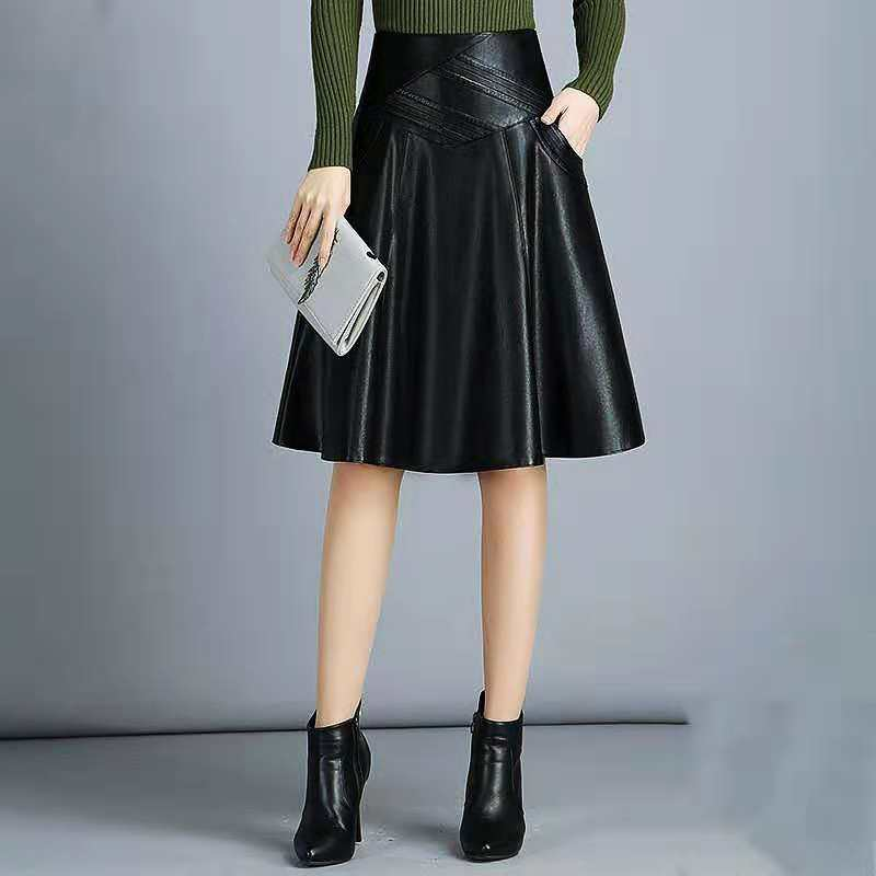 High Waist Leather Sheepskin A-Line Skirts Elegant Black Skirt Korean Womens Female Indie Folk Knee Length Ladies Office Skirt
