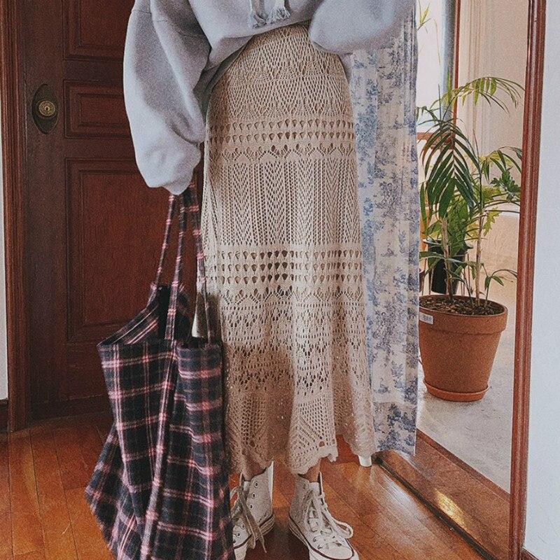Elastic High Waist Long Knitted Skirt Women Summer Sexy Hollow Out Wrap Hip Midi Skirts