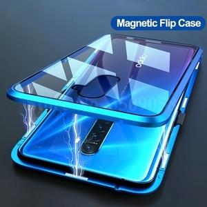 Image 2 - Двухсторонний Магнитный чехол книжка из закаленного стекла на 360 ° для oppo a5 a9 2020 realme 5 pro 5i matel, защитный чехол бампер