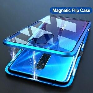 Image 2 - 360 ° doppel seiten gehärtetem glas magnetischen flip fall für oppo a5 a9 2020 realme 5 pro 5i matel bumper schutzhülle abdeckung