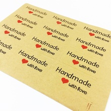 120pcs/pack Handmade With Love Red Heart Leather Color Creative Stationery Sticker Lable For DIY Sealing Stickers