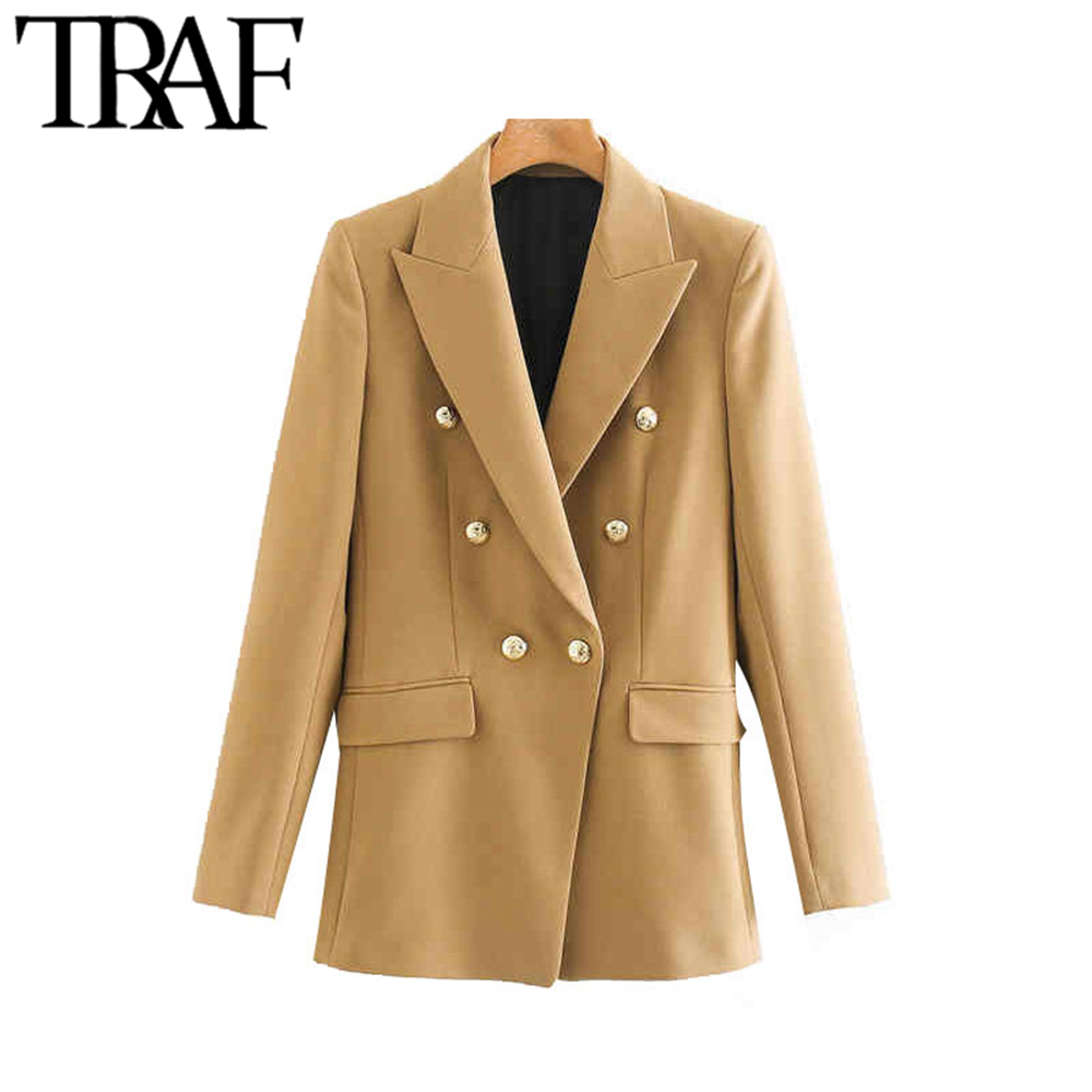 TRAF Women Fashion Office Wear Double Breasted Blazer Coat Vintage Long Sleeve Back Vents Pockets Female Outerwear Chic Tops