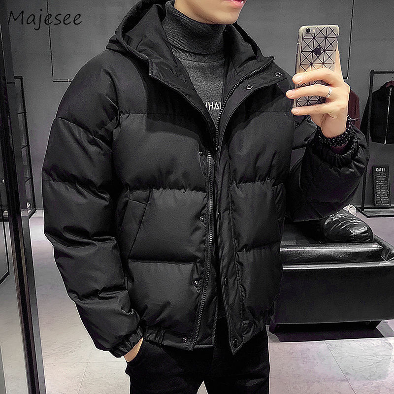 Big Size Men Parka Solid Color Windproof Thicker Warm Winter Clothes Mens Parkas Casual Streetwear Fashionable Korean Trendy
