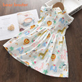Bear Leader Cartoon Print Baby Girls Princess Dress New Fashion Summer Floral Dresses Toddler Kid Party Clothes Children Vestido