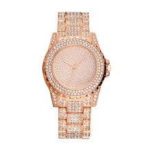 Hot Selling Women's Steel Belt Watch Korean-style Dazzling Stars Diamond Set Rhinestone Dial WOMEN'S Quartz Watch