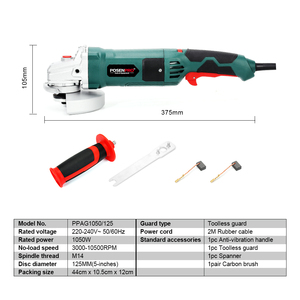 Image 2 - Electric Angle Grinder 1050W 125mm Variable Speed 3000 10500RPM Toolless Guard for Cutting Grinding Metal or Stone Work LANNERET