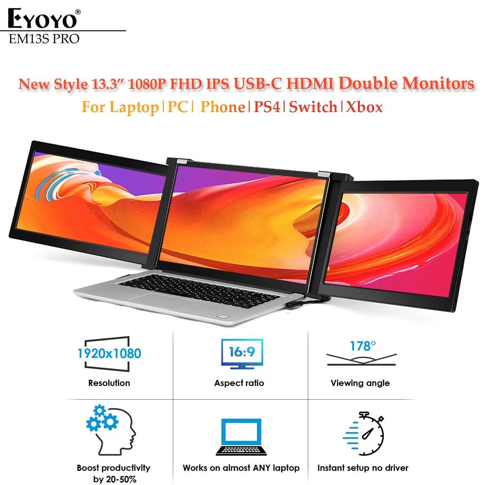 """Eyoyo çift taşınabilir oyun monitörü IPS 1080P 13.3 """"USB-C HDMI ekran FHD PS4 ekran Laptop için PC telefon kılıfı Xbox Nintendo anahtarı"""