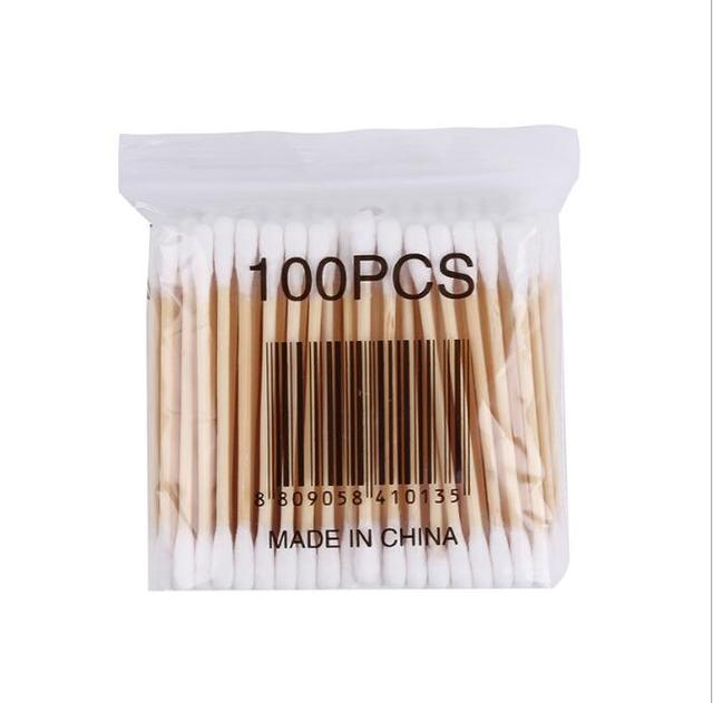 100pcs / pack double head cotton bud for women makeup Cotton tip for wooden medical sticks nose ears cleaning health care tools 4
