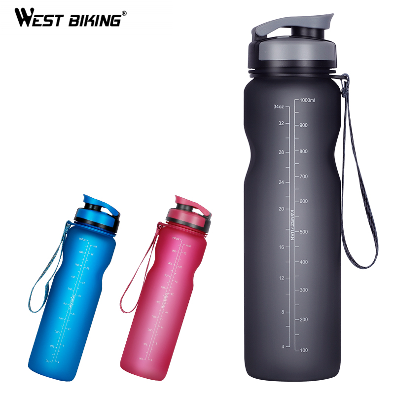 WEST BIKING 1000ML Bicycle Water Bottle Outdoor Drink Leak-proof Cup For Cycling Bike Outdoor Drink Sport Bottle 3 Colors