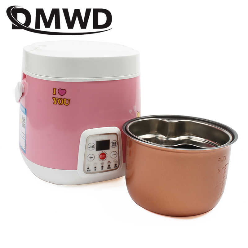 DMWD طباخ الرز الالكتروني علبة طعام للتسخين الحساء المعكرونة ماكينة طهي البيض باخرة الغذاء صندوق الغداء كعكة صانع 1.2L