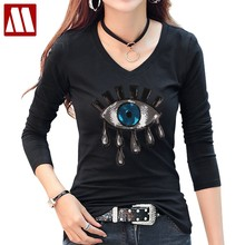 2019 New Fashion Summer Cotton Women Tears T Shirts Ladies Big Eyes Embroidery Sequins Loose Style T Shirts Women Casual Tops(China)