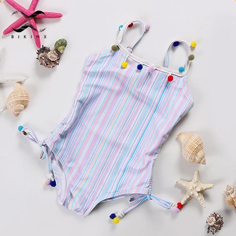 Toddler Baby Girls One-piece Swimsuit Girls Kids Colorful Striped Swimwear For Children 2020 New Summer Bathing Suit Cute Bikini