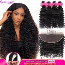 ברזילאי עמוק גל חבילות עם פרונטאלית 100% בתולה שיער טבעי 3/4 חבילות עם פרונטאלית Shuangya שיער חזיתי עם חבילות