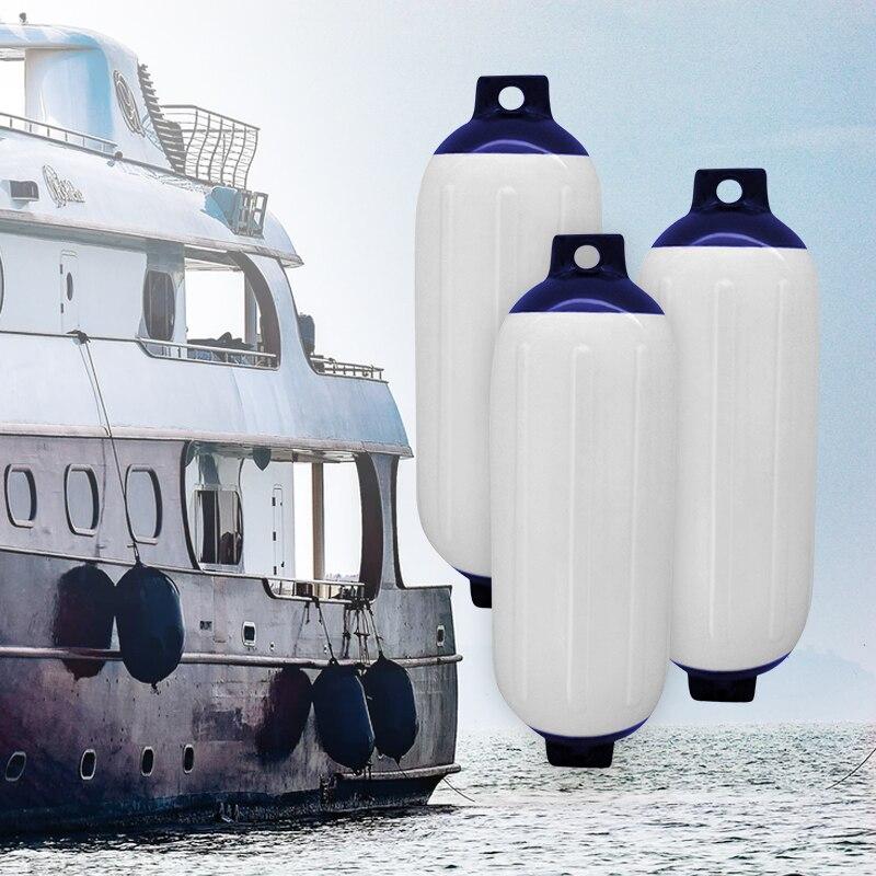 3 個ボートフェンダービニールリブインフレータブルバンパーマリンドックシールド抗 Uv PVC 11x40 センチメートルヨット用スピードボートボートアクセサリー
