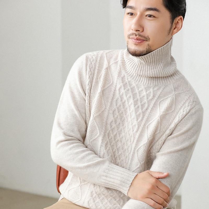 Thickened Turtleneck Cashmere Sweater Men's Twist Flower Youth Sweater Cashmere Sweater Men's Solid Color Base Shirt Men's Cloth