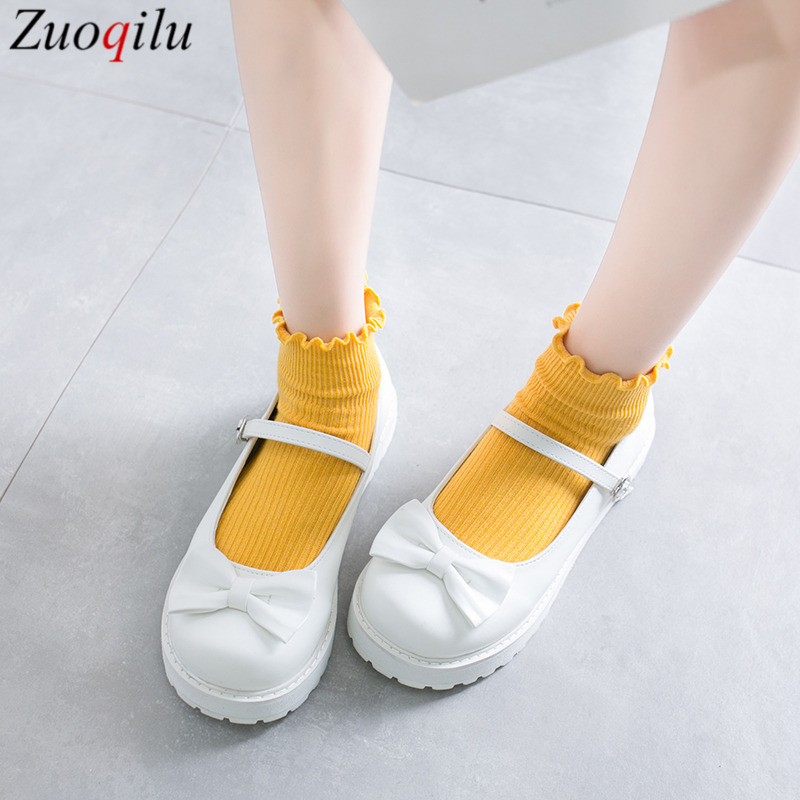 Japanese Sweet Lolita Shoes White Bowknot Platform Shoes Bandage Women Shoes Comfortable Kawaii Girl Loli Cosplay Shoes