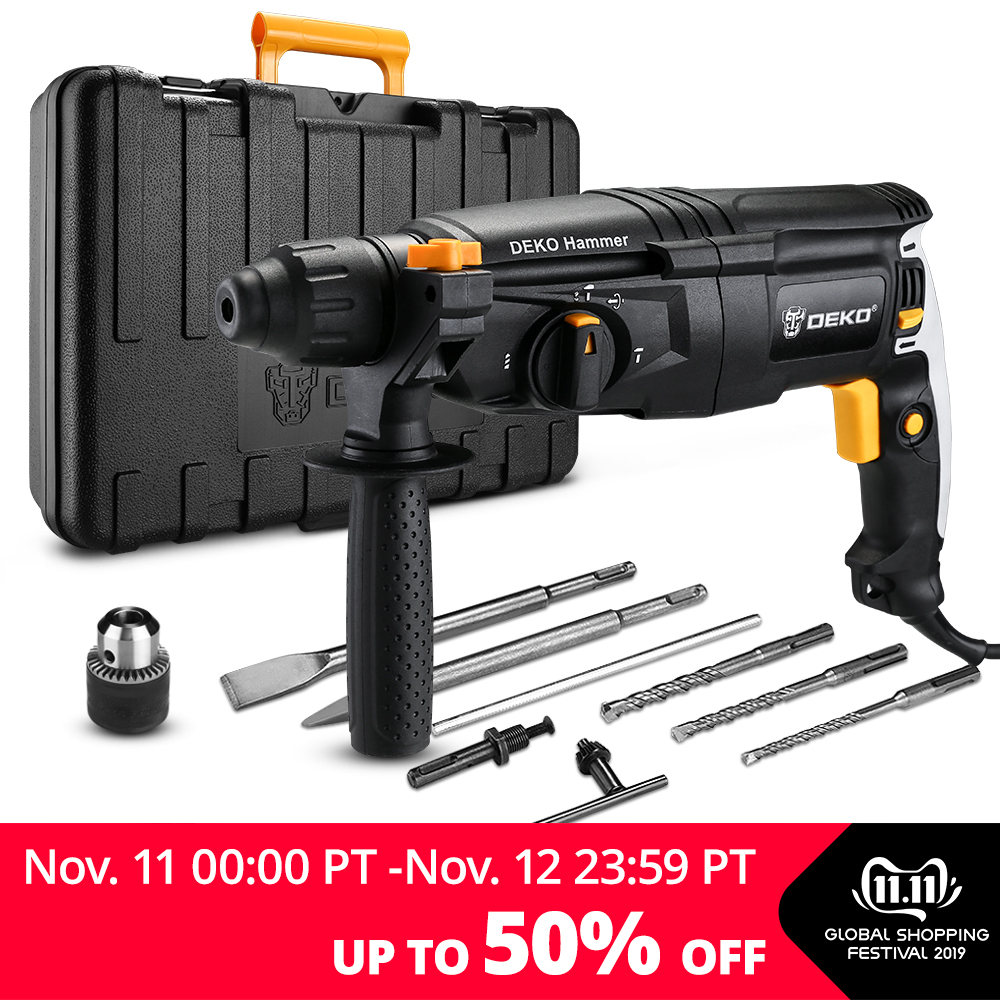 DEKO 220V 26mm 4 Functions AC Electric Rotary Hammer with BMC and 5pcs Accessories Impact Drill