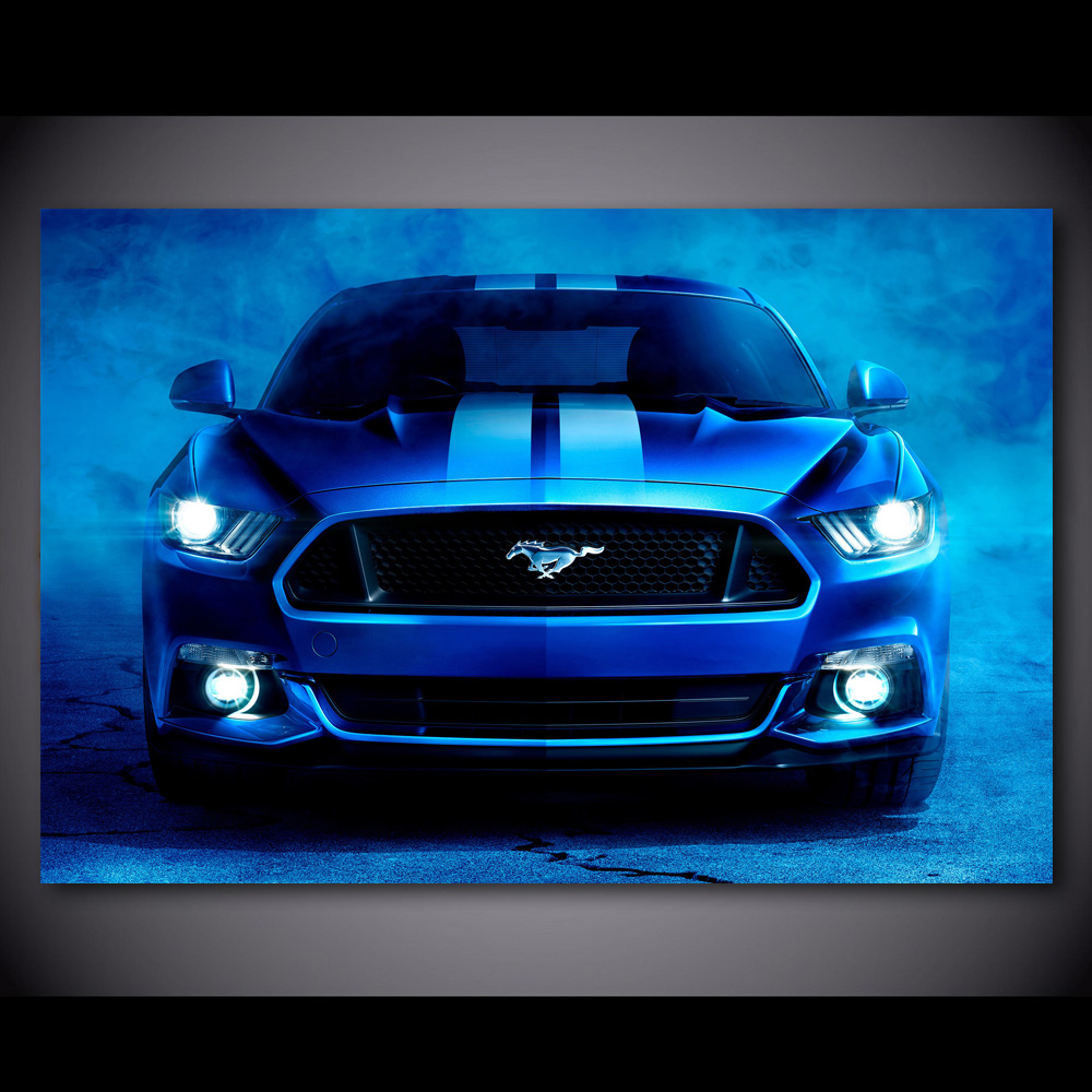 """CANVAS ART A1 30/""""x20/"""" FORD SHELBY MUSTANG GT500 BLUE"""