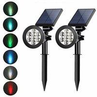 防水LEDソーラーローンランプ,ソーラーガーデンライト,調整可能な屋外スポットライト,景観照明,7個のLED