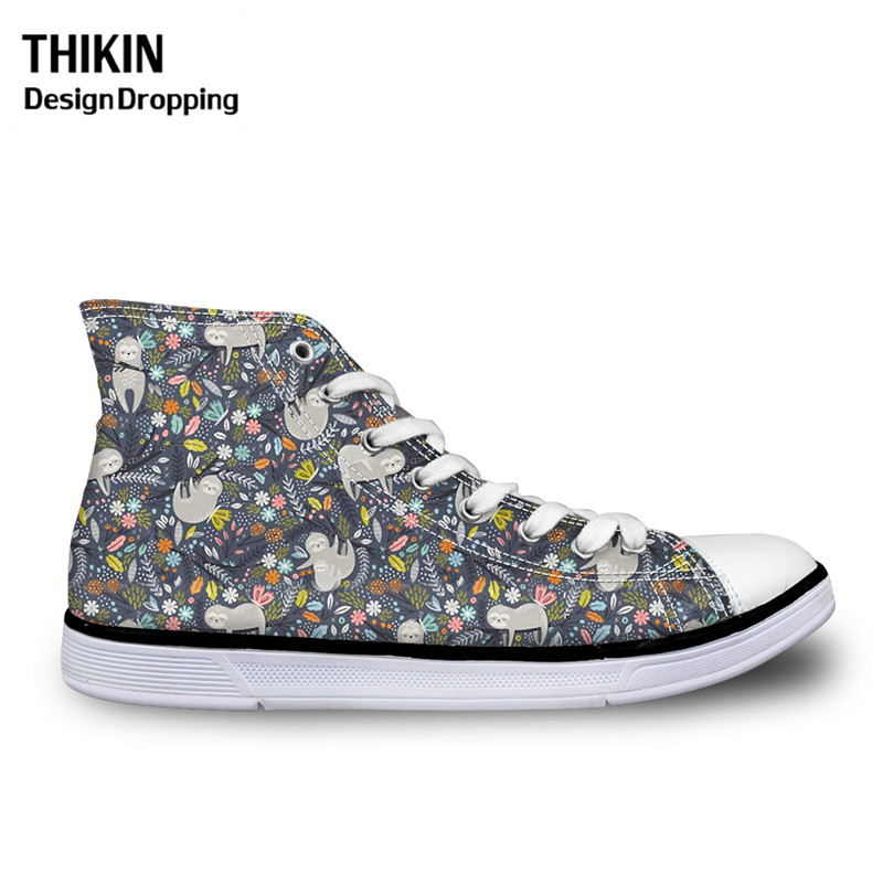 THIKIN Ladies Running Vulcanize Shoes Funny Sloth Cartoon Lace Up Canvas Shoes For Teenager Girls High Top Women Custom Sneakers