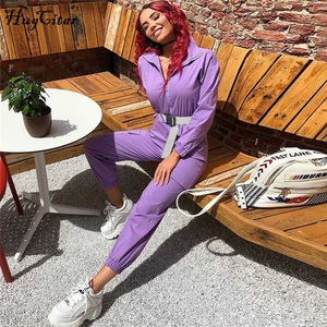 Image 5 - Hugcitar 2019 buckle belt long sleeve jumpsuit autumn winter women streetwear cargo pants overalls  body festival streetwear