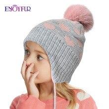 ENJOYFUR/зимние детские шапки для девочек и мальчиков; Детские шапки из лисьего меха с помпоном; детские толстые теплые вязаные шапки с ушками; шапочки