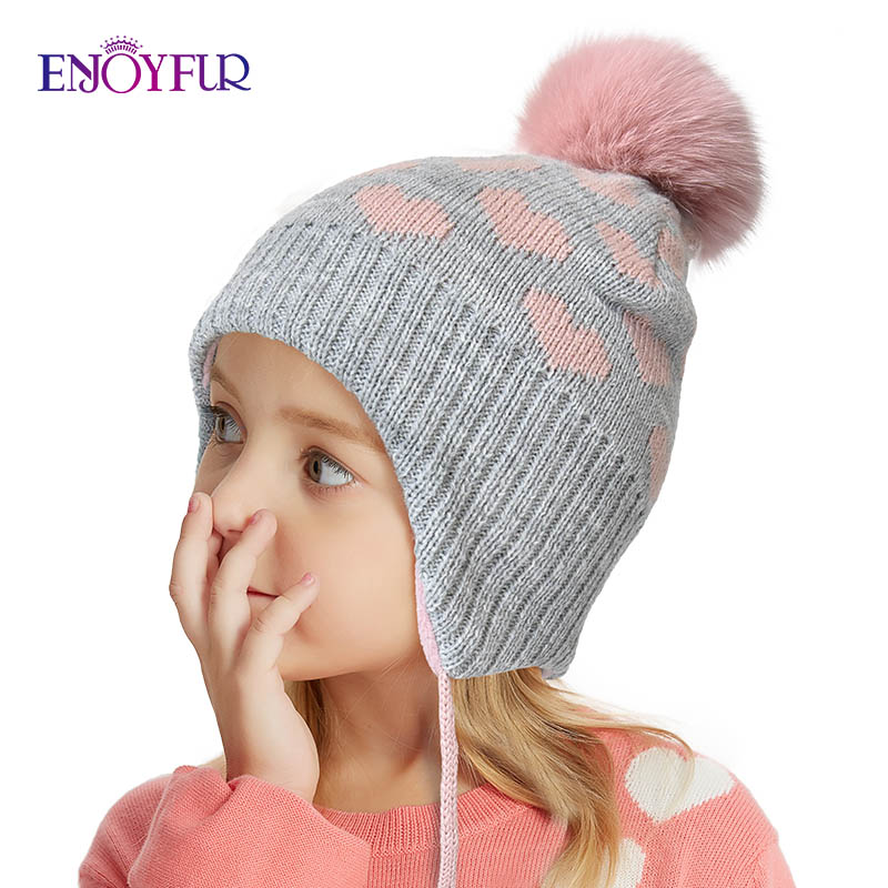 ENJOYFUR Winter Children Hats For Girls&boys Fox Fur Pompom Kids Caps Baby Thick Warm Knitted Ears Beanies