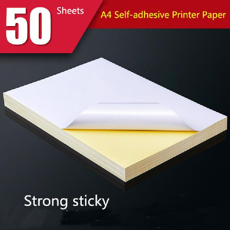 50/100 Sheets Of A4 Paper White Label Matte Surface Blue Horse  Adhesive Printing Paper Laser Ink Jet Smooth Blank Self-adhesive