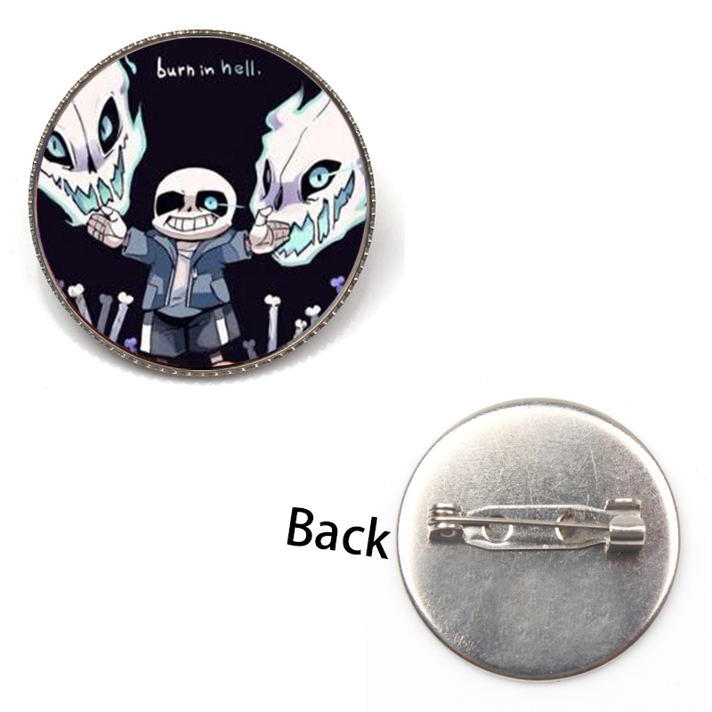 Fashion New Undertale Sans Game Badge Brooch Handmade Glass Convex Cartoon Picture Picture Brooch Lapel Toy Gift Fans Souvenir in Brooches from Jewelry Accessories