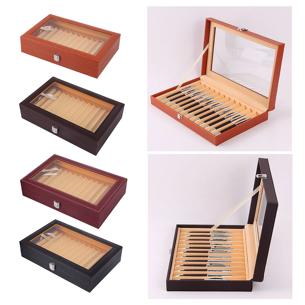 12 Slots Leatherette Pen Display Case Storage and Fountain Pen Collector Organizer Box with Glass Top Lid
