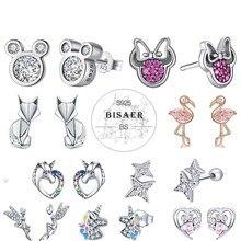 Bisaer atacado 925 brincos de prata esterlina feminino mouse animal golfinho gato cintilante minnie prata 925 jóias