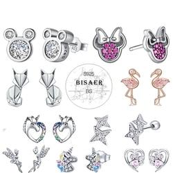 Bisaer Brand 925 Sterling Silver Earrings cute cartoon mickey rainbow love heart CZ crystal stone stud for women girl Brincos