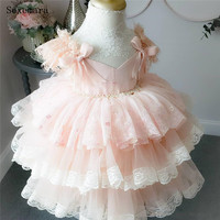 Cute Pink Flower Girl Dress Little Ball Gown Ruffles Layers Tiered Lace Kids Birthday Clothes Wedding Party Holiday Formal Event Gowns for Toddler Size 6M 9M 12M 18M 24M