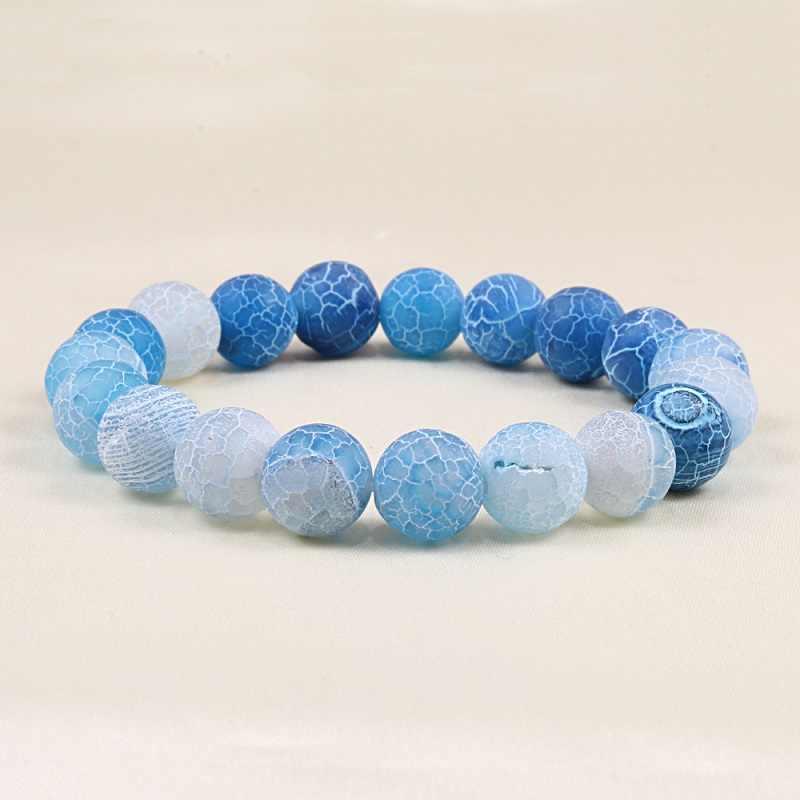 Pulseras de distancia de 10mm para hombres y mujeres, Pulseras de cuentas de piedra Natural azul, Pulseras de Yoga para niñas, regalos de joyería Bileklik