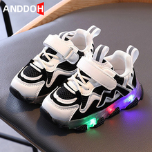 Size 21-30 Baby Led Light Up Shoes Children Anti-slippery Glowing Shoes Girls Casual Sneakers Boys Lightweight Luminous Sneaker