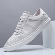 Men Casual Shoes Luxury Brand Fashion Black White Sneakers Men 100% COw